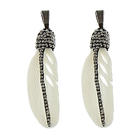 Synthetic Ivory Pendant, with Rhinestone Clay Pave & Brass, Feather, plumbum black color plated, white, 11x44x6mm, Hole:Approx 5x8mm, 3PCs/Lot, Sold By Lot
