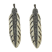 Synthetic Ivory Pendant, with Rhinestone Clay Pave & Brass, Feather, plumbum black color plated, 17x70x8mm, Hole:Approx 5x8mm, 3PCs/Lot, Sold By Lot
