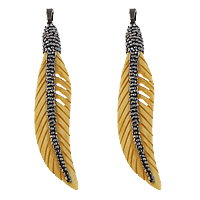 Synthetic Ivory Pendant, with Rhinestone Clay Pave & Brass, Feather, plumbum black color plated, yellow, 14.50x78x7.50mm, Hole:Approx 5x8mm, 3PCs/Lot, Sold By Lot
