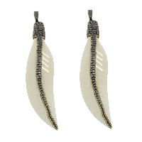 Synthetic Ivory Pendant, with Rhinestone Clay Pave & Brass, Feather, plumbum black color plated, white, 17x78x6.50mm, Hole:Approx 5x8mm, 3PCs/Lot, Sold By Lot
