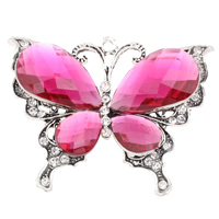 Zinc Alloy Animal Pendants, with Acrylic, Butterfly, antique silver color plated, with rhinestone, lead & cadmium free, 66x51x11mm, Sold By PC