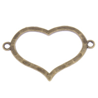 Heart Zinc Alloy Connector, antique bronze color plated, 1/1 loop, lead & cadmium free, 33x22x2mm, Hole:Approx 1mm, Approx 70PCs/Bag, Sold By Bag