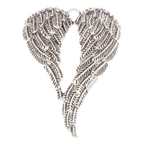 Wing Shaped Zinc Alloy Pendants, antique silver color plated, lead & cadmium free, 47x67x5mm, Hole:Approx 4mm, Sold By PC