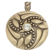 Zinc Alloy Flat Round Pendants, antique bronze color plated, with rhinestone, 52x65x9mm, Hole:Approx 5x10mm, Sold By PC