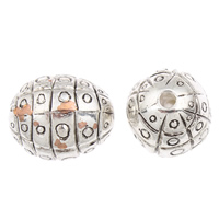 Zinc Alloy Jewelry Beads, Oval, antique silver color plated, 25x20mm, Hole:Approx 3mm, 20PCs/Bag, Sold By Bag