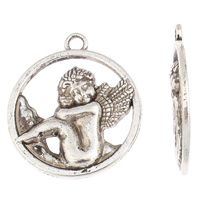 Character Shaped Zinc Alloy Pendants, Angel, antique silver color plated, lead & cadmium free, 27x31x2mm, Hole:Approx 2mm, Sold By Bag