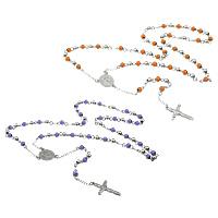 Четки Ожерелье, нержавеющая сталь, Инсус крест, христианское ювелирное изделие & эмаль, Много цветов для выбора, 17.5x22x2.5mm, 19.5x32x3mm, 6mm, длина:Приблизительно 26 дюймовый, 10пряди/Лот, продается Лот