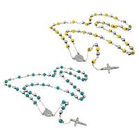 Четки Ожерелье, нержавеющая сталь, Инсус крест, христианское ювелирное изделие & эмаль, Много цветов для выбора, 17.5x22x2.5mm, 19.5x32x3mm, 8mm, длина:Приблизительно 32 дюймовый, 10пряди/Лот, продается Лот
