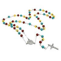 Четки Ожерелье, нержавеющая сталь, Инсус крест, христианское ювелирное изделие & эмаль, 17.5x22x2.5mm, 19.5x32x3mm, 8mm, длина:Приблизительно 32 дюймовый, 10пряди/Лот, продается Лот