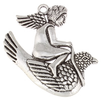 Character Shaped Zinc Alloy Pendants, Angel, antique silver color plated, lead & cadmium free, 52x61x4mm, Hole:Approx 3mm, Sold By PC