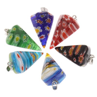 Szklany wisiorek Millefori, Millefiori szklane, ze kaucja żelaza, Kolec, Platerowane w kolorze platyny, dostępnych więcej kolorów, 16x27mm, otwór:około 3x6mm, 5komputery/torba, sprzedane przez torba