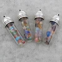 Стеклянный Шкентель бутылки, с Пластик с медным покрытием, Столбик, плакированный цветом под старое серебро, различные материалы для выбора, 13x47mm, отверстие:Приблизительно 2mm, 10ПК/сумка, продается сумка