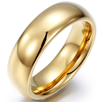 Tungsten Steel Finger Ring, 18K gold plated, different size for choice & for man, 6x22mm, Sold By PC