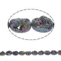 Druzy Beads, Ice Quartz Agate, Flat Oval, natural, druzy style, multi-colored, 18x13x8mm, Hole:Approx 1mm, 11PCs/Strand, Sold Per Approx 7.5 Inch Strand