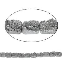 Druzy Koraliki, Agat kwarc lodowy, Prostokąt, Naturalne, styl druzy, srebro, 20x15x9mm, otwór:około 1mm, 10komputery/Strand, sprzedawane na około 7.5 cal Strand
