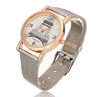 Unisex Wrist Watch, Stainless Steel, with zinc alloy dial, plated, with rhinestone, nickel, lead & cadmium free, 42x35x18mm, 16mm, Sold Per Approx 9 Inch Strand