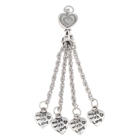 Zinc Alloy Chain Tassel, antique silver color plated, nickel, lead & cadmium free, 78x11x7mm, Hole:Approx 2.8mm, Length:3 Inch, Sold By PC