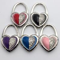 Мода Вешалка мешка, цинковый сплав, Сердце, Платиновое покрытие платиновым цвет, эмаль & со стразами, Много цветов для выбора, не содержит никель, свинец, 45x65x20mm, 3PC/Лот, продается Лот