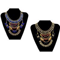 Сеть Тканые ожерелье, цинковый сплав, с гросгрейнская лента & канифоль, с 2lnch наполнитель цепи, плакирован золотом, твист овал & граненый & со стразами & двунитевая, Много цветов для выбора, не содержит никель, свинец, длина:Приблизительно 15 дюймовый, 3пряди/Лот, продается Лот