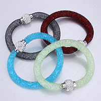 Mesh Tube Bracelet Plastic Net Thread Cord with Rhinestone Clay Pave   Resin Rhinestone zinc alloy magnetic clasp platinum color plated with 56 pcs rhinestone nickel lead   cadmium free 10mm Sold Per Approx 7 Inch Strand