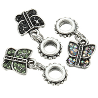 European Zinc Alloy Pendants, Butterfly, antique silver color plated, without troll & with rhinestone, more colors for choice, nickel, lead & cadmium free, 23.5mm, 9.5x11x2mm, 8x11x3mm, Hole:Approx 4.5mm, 200PCs/Lot, Sold By Lot