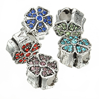 Zinc Alloy European Beads, Flower, antique silver color plated, without troll & with rhinestone, more colors for choice, nickel, lead & cadmium free, 11x11x9mm, Hole:Approx 4mm, 100PCs/Lot, Sold By Lot
