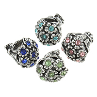 Zinc Alloy European Beads, Bouquet, antique silver color plated, without troll & with rhinestone, more colors for choice, nickel, lead & cadmium free, 10x10.50x12.50mm, Hole:Approx 4.5mm, 200PCs/Lot, Sold By Lot