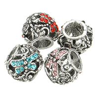 Zinc Alloy European Beads, Drum, antique silver color plated, without troll & with rhinestone, more colors for choice, nickel, lead & cadmium free, 11x9mm, Hole:Approx 5.5mm, 200PCs/Lot, Sold By Lot