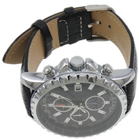 Unisex Wrist Watch, Cowhide, with Zinc Alloy, platinum color plated, waterproof, black, nickel, lead & cadmium free, 43mm, Length:Approx 10.2 Inch, Sold By PC