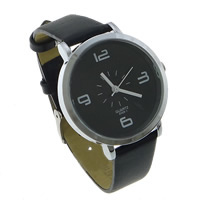 Unisex Wrist Watch, PU, with zinc alloy dial, platinum color plated, black, 36x33.5x8.5mm, 14mm, Length:Approx 8.5 Inch, 10PCs/Lot, Sold By Lot