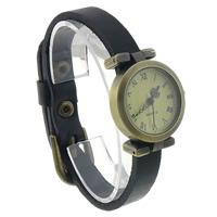 Zegarek unisex, Sznur z krowiej skóry, ze Tarcza ze stopów cynku, Platerowane kolorem starego brązu, czarny, bez zawartości niklu, ołowiu i kadmu, 25mm, długość:około 9.4 cal, 8nici/wiele, sprzedane przez wiele