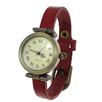 Zegarek unisex, Sznur z krowiej skóry, ze Tarcza ze stopów cynku, Platerowane kolorem starego brązu, czerwony, bez zawartości niklu, ołowiu i kadmu, 33x29mm.10mm, długość:około 9.4 cal, 8nici/wiele, sprzedane przez wiele