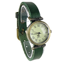 Unisex Wrist Watch, Cowhide, with zinc alloy dial, antique bronze color plated, green, nickel, lead & cadmium free, 25mm, Length:Approx 9.4 Inch, 8Strands/Lot, Sold By Lot