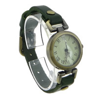 Unisex Wrist Watch, Cowhide, with zinc alloy dial, antique bronze color plated, waterproof, green, nickel, lead & cadmium free, 25mm, Length:Approx 8.6 Inch, 10PCs/Lot, Sold By Lot