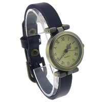 Unisex Wrist Watch, Cowhide, with zinc alloy dial, antique bronze color plated, blue, nickel, lead & cadmium free, 25mm, Length:Approx 9.4 Inch, 8Strands/Lot, Sold By Lot