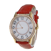 Unisex Wrist Watch, Cowhide, with zinc alloy dial, plated, japanese movement & micro pave cubic zirconia, red, 47x43mm, 18mm, Length:Approx 9 Inch, Sold By PC