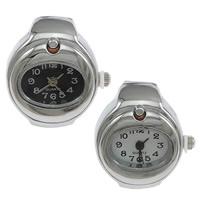 цинковый сплав Часы-кольцо, с Стеклянный, Плоская овальная форма, Платиновое покрытие платиновым цвет, регулируемый, Много цветов для выбора, не содержит никель, свинец, 20x27mm, 20ПК/Лот, продается Лот