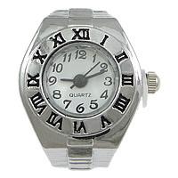 цинковый сплав Часы-кольцо, с Стеклянный, Плоская круглая форма, Платиновое покрытие платиновым цвет, регулируемый & эмаль, не содержит никель, свинец, 18x26mm, 20ПК/Лот, продается Лот