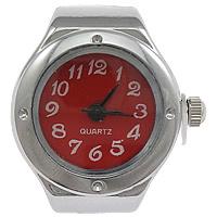 цинковый сплав Часы-кольцо, с Стеклянный, Плоская круглая форма, Платиновое покрытие платиновым цвет, регулируемый, не содержит никель, свинец, 18x25mm, 20ПК/Лот, продается Лот