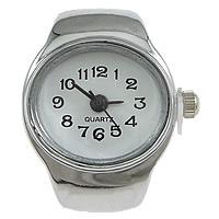 цинковый сплав Часы-кольцо, с Стеклянный, Плоская овальная форма, Платиновое покрытие платиновым цвет, регулируемый, не содержит никель, свинец, 18x26mm, 20ПК/Лот, продается Лот