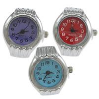 цинковый сплав Часы-кольцо, с Стеклянный, Плоская круглая форма, Платиновое покрытие платиновым цвет, регулируемый, Много цветов для выбора, не содержит никель, свинец, 20x25mm, 20ПК/Лот, продается Лот