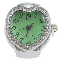 цинковый сплав Часы-кольцо, с Стеклянный, Сердце, Платиновое покрытие платиновым цвет, регулируемый, не содержит никель, свинец, 21x27mm, 20ПК/Лот, продается Лот