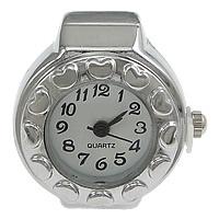 цинковый сплав Часы-кольцо, с Стеклянный, Плоская круглая форма, Платиновое покрытие платиновым цвет, регулируемый, не содержит никель, свинец, 21x26mm, 20ПК/Лот, продается Лот