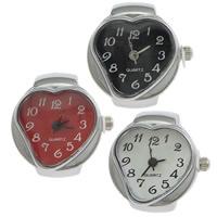 цинковый сплав Часы-кольцо, с Стеклянный, Сердце, Платиновое покрытие платиновым цвет, регулируемый, Много цветов для выбора, не содержит никель, свинец, 21x26mm, 20ПК/Лот, продается Лот