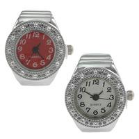 цинковый сплав Часы-кольцо, с Стеклянный, Плоская круглая форма, Платиновое покрытие платиновым цвет, регулируемый, Много цветов для выбора, не содержит никель, свинец, 19x25mm, 20ПК/Лот, продается Лот
