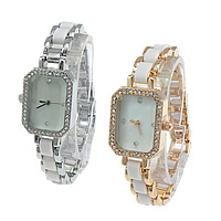 Unisex Wrist Watch, Zinc Alloy, with White Shell & Organic Glass & Resin, plated, with rhinestone, more colors for choice, 34x23mm, 10mm, Length:Approx 8 Inch, 2PCs/Lot, Sold By Lot