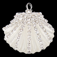 Rhinestone Brass Pendants, Shell, silver color plated, with rhinestone, lead & cadmium free, 35x36x10mm, Hole:Approx 3mm, Sold By PC