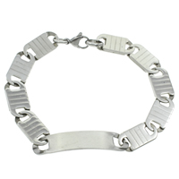 Stainless Steel Jewelry Bracelet, original color, 44x10x1mm, Length:Approx 8.5 Inch, 10Strands/Bag, Sold By Bag