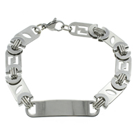 Stainless Steel Jewelry Bracelet, original color, 42x8x1mm, Length:Approx 8.5 Inch, 10Strands/Bag, Sold By Bag