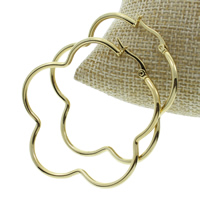 Stainless Steel Hoop Earring, Flower, gold color plated, 50x51x2mm, 10Pairs/Bag, Sold By Bag